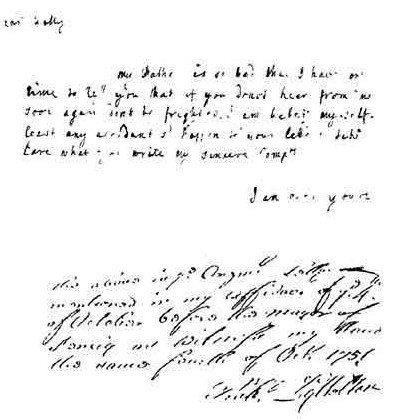 Documento de Mary Blandy.